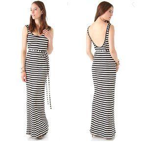 Edith A. Miller Striped Maxi Evening Dress M